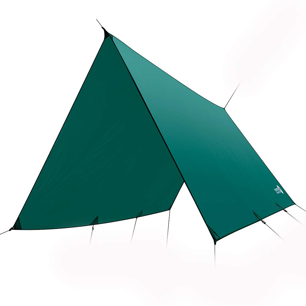 Easthills Outdoors Dragonfly Ultralight Waterproof Ripstop Silnylon Rain Fly Shelter Tarp, Guy Line and Stake Kit - Perfect for Hammocks, Camping and Backpacking Flat Cut Green (12 ft x 10 ft - 25 oz) by Easthills Outdoors