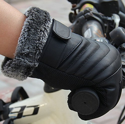 1-Pc (1 Pair) Famed Popular Mens Thermal Warm Leather Glove Ski Windproof Snow Decoration Soft Feeling Color Blacks Model-02