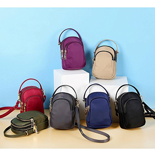 Khaki Solid Mini Waterproof Bag Crossbody Nylon Slot Portable Women Bag Phone Multi wXZ1Pdwq