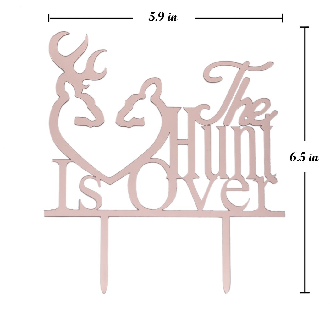 Qttier The Hunt Is Over with Deer Silhouette Cake Topper Wedding Engagement Party Decorations Rose Gold