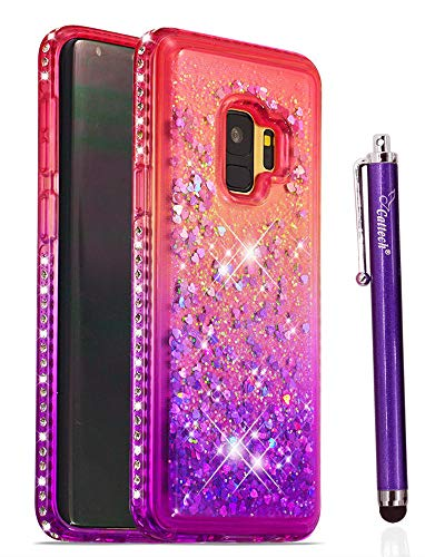 Diamond Samsung - Cattech Glitter Case for Galaxy S9 Case,Glitter Liquid Floating Flowing Sparkle Flexible TPU Bling Diamond Slim Clear Soft TPU Cover Protective Case for Samsung Galaxy S9 + Stylus (Pink/Purple)