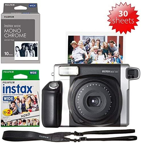 Fujifilm INSTAX Wide 300 Camera and 1 Instax Wide Film Twin Pack 1 Instax Wide Monochrome Film=30 Sheets