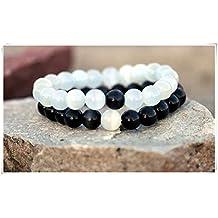 Matching bracelets Cat Eye Bracelet Her and His Bracelet ,Couples Bracelets Yin Yang bracelet ,Black and White Bracelets