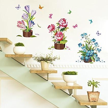 ALLDOLWEGE Armarios archivadores creativa escaleras shop arte de vidrio adhesivos de pared de pie bordeando la
