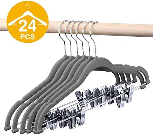 HOUSE DAY ベルベットスカートハンガー 24個パック クリップ付きベルベットハンガー 超薄型 滑り止めベルベットパンツハンガー 省スペース 衣類ハンガー グレー