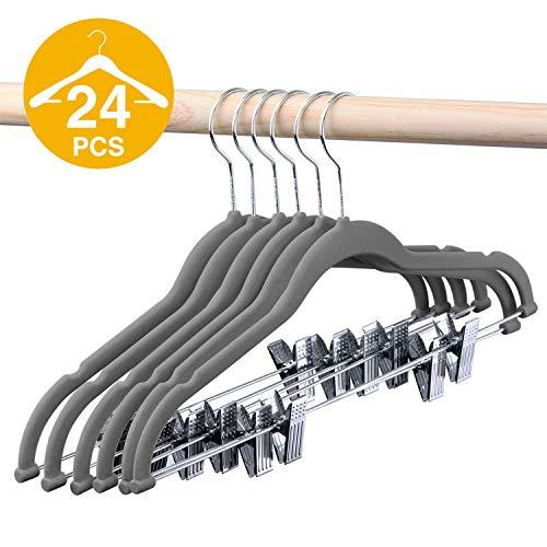 HOUSE DAY Velvet Skirt Hangers - Pack of 24 - Velvet Hangers with Clips Ultra Thin Non Slip Velvet Pants Hangers Space Saving Clothes Hanger (Grey)