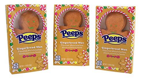 Peeps Gingerbread Man Flavored Marshmallow Christmas Stocking Stuffer, 1.19 oz, Set of 3