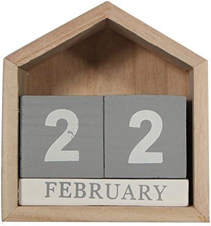Vaorwne Vintage Design Haus Form Ewiger Kalender Holz Schreibtisch Holzblock Zuhause Buero Lieferungen Dekoration Artcraft
