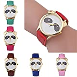 Panda Pattern Watches for Women,COOKI Cartoon Lovely Analog Lady Watches Female watches on Sale Casual Wrist Watches for Women Comfortable PU Leather Watch New-A170