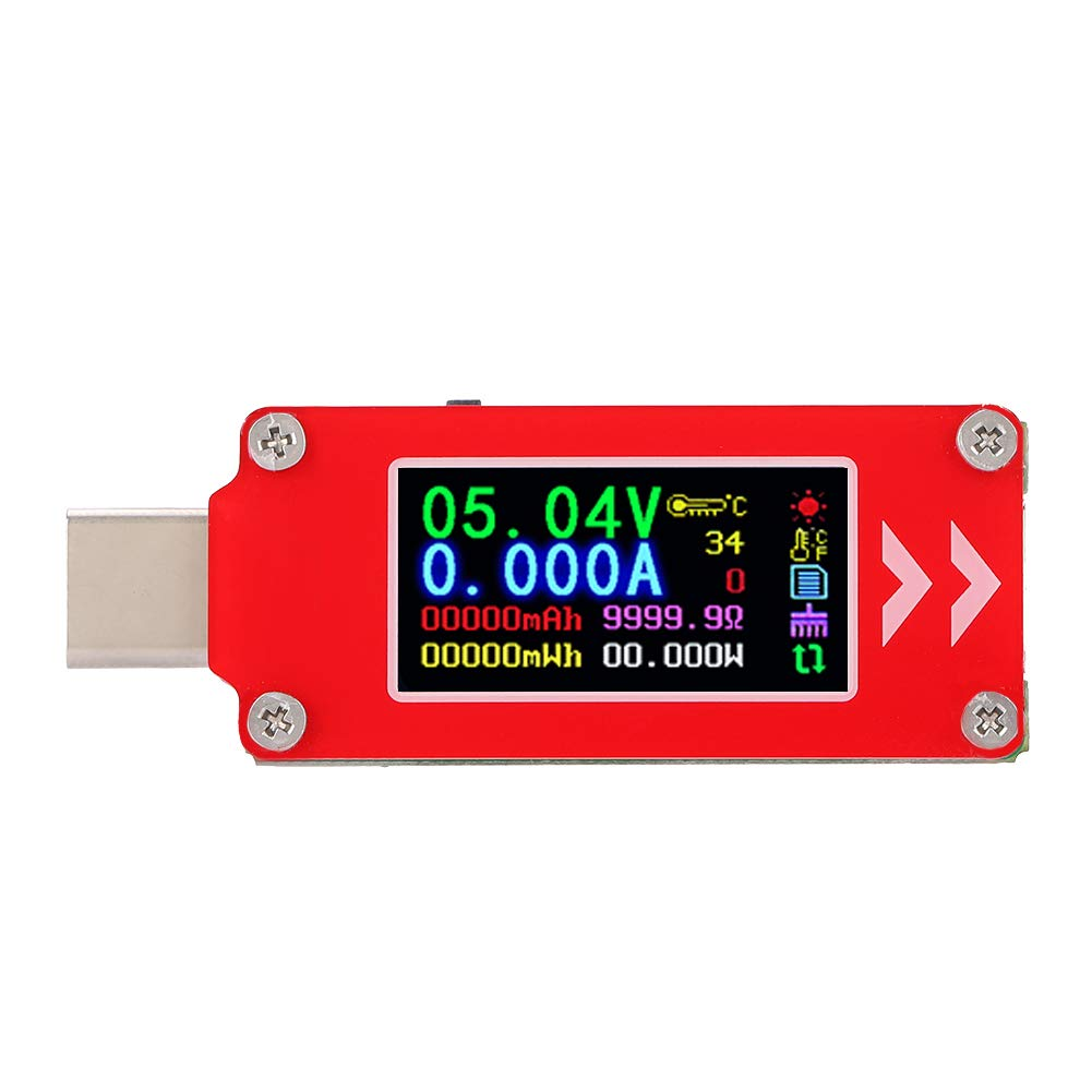 Akozon TC64 PD Probador del cargador Pantalla a color Voltaje de carga Capacidad actual Medidor detector Tipo-C