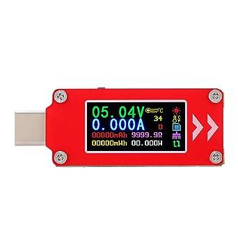 Akozon TC64 PD Probador del cargador, Tipo-C, Pantalla a color, Voltaje