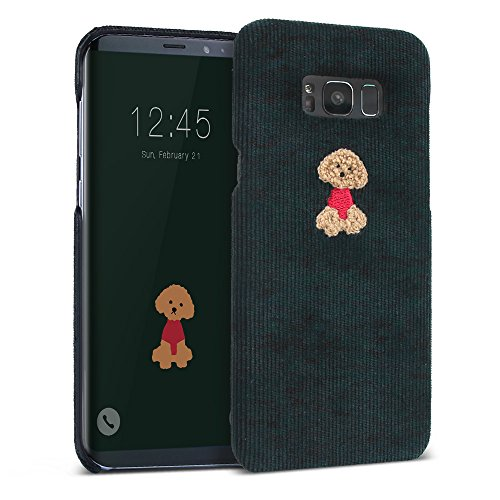 Galaxy S8 Plus Case, DesignSkin [Corduroy Boucle] Embroidered Soft Fabric Slim Thin Lightweight Non-Slip Grip Luxurious Cute Unique Fashion Embroidery Design Poodle Character Hard Cover (Deep Green)