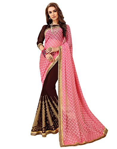 Viva N Diva Sarees for Women's Embroidery Work Brown & Pink Self Jacquard & Dyed Georgette Saree with Un-Stiched Blouse Piece,Party ()