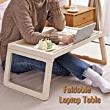 Large Size Laptop Tray Desk Foldable Portable Folding Computer Bed Table Ergonomic Tables For Eating Bed Sofa Car Camping Gaming Picnic Stand Desk (cream)
