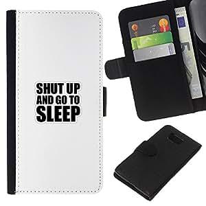 KLONGSHOP // Tirón de la caja Cartera de cuero con ranuras para tarjetas - Shut Up And Go To Sleep divertido Tipografía - Samsung ALPHA G850 //