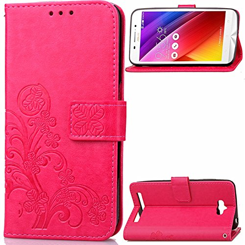 Wallet Flip Leather Case Cover For Asus Zenfone Max ZC550KL (Red) - 4
