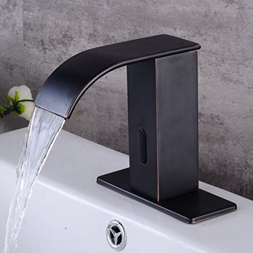 Electronic Automatic Sensor Touchless Bathroom Sink Faucet, Motion Activated Hands-Free Vessel Sink Tap, Easy Installation, Lead Free, Oil Rubbed Bronze Finished, by HHOOMMEE, Model AT0517B by HHOOMMEE