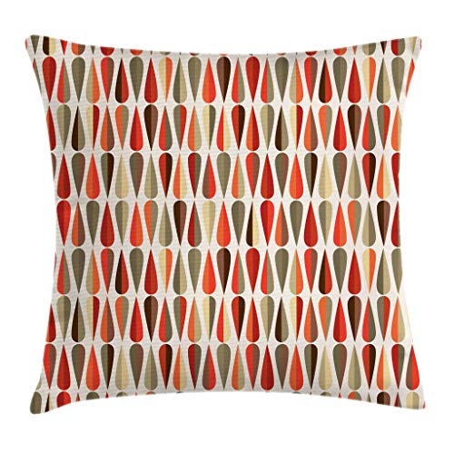 Ambesonne Retro Decor Throw Pillow Cushion Cover, Home Decor 60s 70s Style Geometric Round Shaped Design with Warm Colors Print, Decorative Square Accent Pillow Case, 18 X 18 Inches, Multicolor