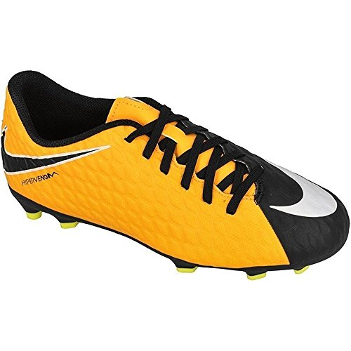 Nike Kids Jr. Hypervenom Phade III (FG) Firm Ground Soccer Cleat Laser Orange/Black/White/Volt Size 4.5 M US