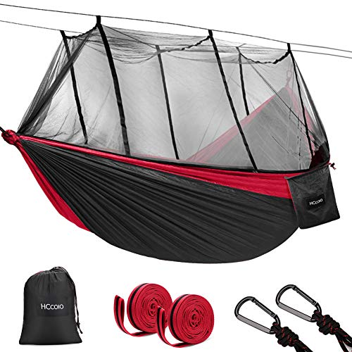 - HCcolo Double Camping Hammock with Mosquito Net, 10ft Hammock Tree Straps & Carabiners, Lightweight Nylon Parachute Hammocks for Camping, Travel, Beach, Hiking, Backyard(Hold Up to 440lbs) (Red)