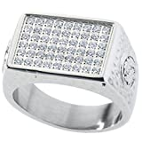 Brillianite Pave Men's Ring (0.81ctw.). Solid Platinum Style Surgical Stainless Steel. RSS14BRILL9