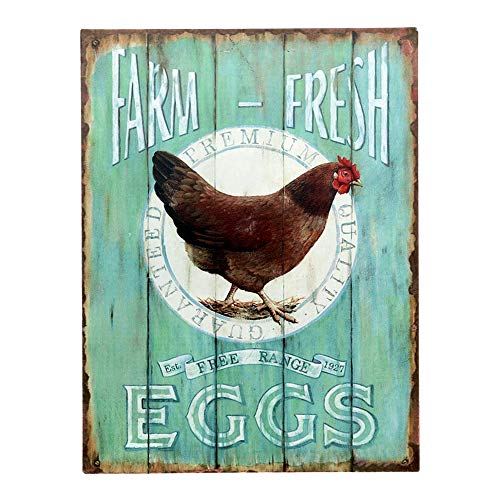 Barnyard Designs Farm Fresh Free Range Eggs Retro Vintage Tin Bar Sign Country Home Decor 10