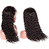 Younsolo Brazilian Water Wave Lace Front Wigs with Baby Hair for Black Women 130% Density Virgin Remy Water Wave Human Hair Lace Front Wigs 16 inch