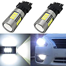 Alla Lighting Newest High Power 3035 SMD 3157 3156 3057 4157 LED Bulbs Super Extremely Bright 6000K Xenon White Lamp Replacement for Turn Signal Brake Tail Back Up Reverse Light