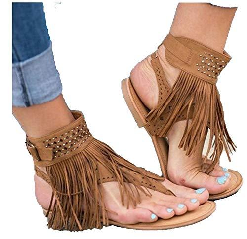 2018 Hot Summer New Bohemia Flat Women Sandals Tassel Flip Flops Vintage Shoes Beach,Brown,5
