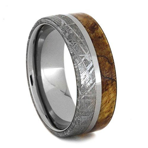 Spalted Maple Burl, Gibeon Meteorite 8mm Comfort-Fit Titanium Ring, Size 8 by The Men's Jewelry Store (Unisex Jewelry)