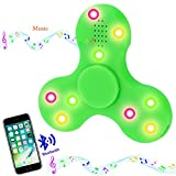 Bluetooth fidget spinner, musical spinner, lime triangle hand tri-spinner for adhd, add, anxiety, and autism adults & children's