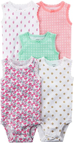 Carter's Baby Girls' 5 Pack Floral Bodysuits 12 Months