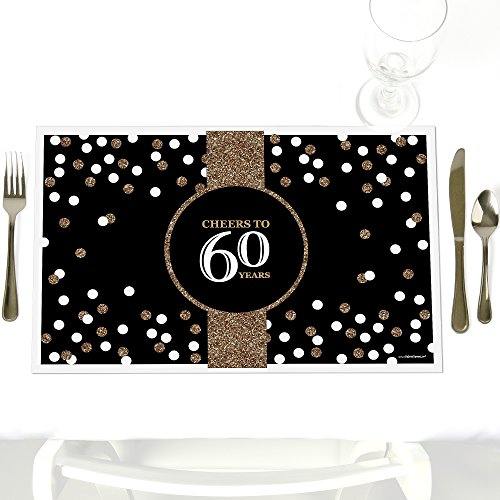 Adult 60th Birthday - Gold - Party Table Decorations - Birthday Party Placemats - Set of 12]()
