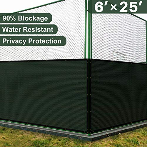 Coarbor 6' x 25' Privacy Fence Screen with Brass Grommets Heavy Duty 140GSM Pefect for Outdoor Back Yard Patio and Deck Green