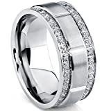 Men's Titanium Wedding Band Ring with Double Row Cubic Zirconia, Comfort Fit Sizes, 9MM Size 10