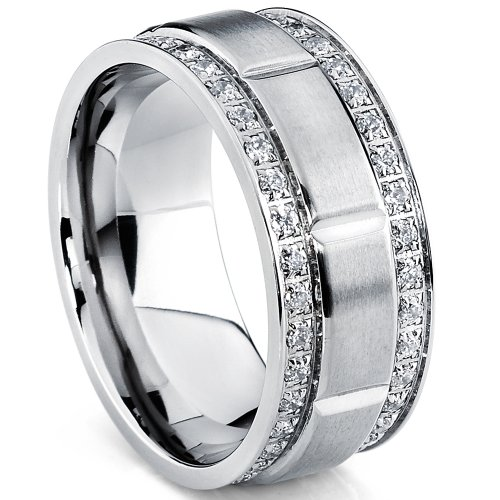 Metal Masters Co. Men's Titanium Wedding Band Ring with Double Row Cubic Zirconia, Comfort Fit Sizes, 9MM Size 11.5