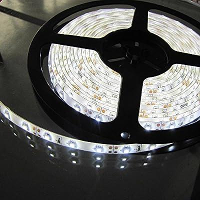 Warm White LED Strip light, Waterproof LED Flexible Light Strip 12V with 300 SMD 5050 LED, 16.4 Ft / 5 Meter