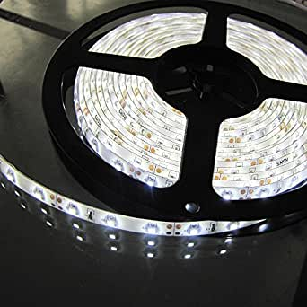LED Strip light, Waterproof LED Flexible Light Strip 12V with 300 SMD LED, 3528 Pure White. 16.4 Foot / 5 Meter (Pure White)