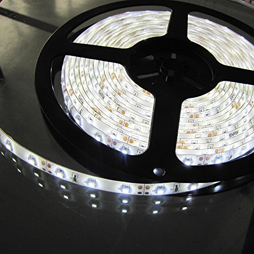 Triangle Bulbs T93007 - Waterproof Flexible LED Strip Light, 300 LEDs, 3528 SMD, Pure White, 16.4 feet / 5M