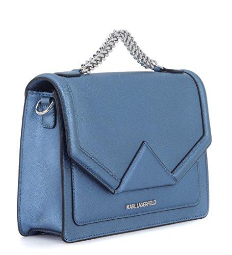 a Lagerfeld mano pelle azzurra saffiano Klassic Borsa in Karl FCq7nvxxZ