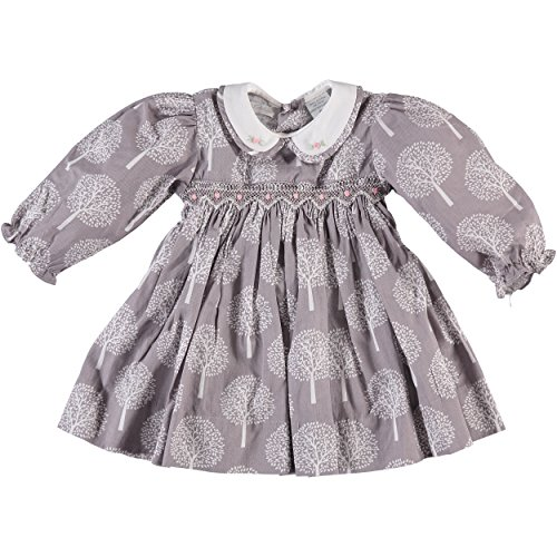 Little Girl's Long Sleeve Tree Print Smocked Dress (18M) by Carriage Boutique
