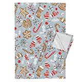 Gingerbread Christmas Holiday Baking Cookies Gray Retro Tea Towels Gingerbread Dreams - Steel by Heatherdutton Set of 2 Linen Cotton Tea Towels