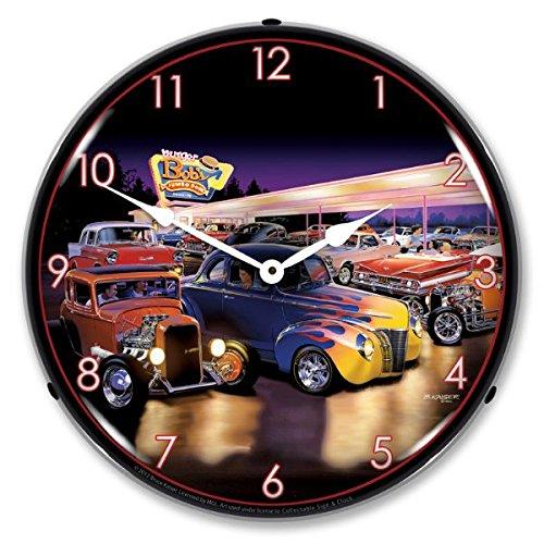 Burger Bobs LED Wall Clock, Retro/Vintage, Lighted, 14 inch