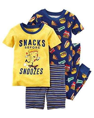 Carter's Baby Boys' 4 Piece Cotton Sleepwear (7, Navy/Food) -