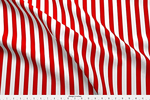 Striped Pattern Fabric Raggedy Doll Stripes- Red/White by Franbail Printed on Fleece Fabric by the Yard by Spoonflower