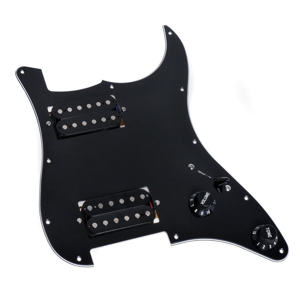 Loaded Electric Guitar Pickguard Scratchplat With 2 Humbucker Pickups For  Strat Replacement (Black)