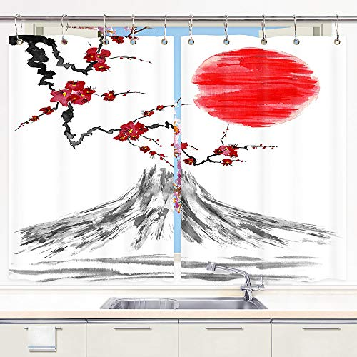 JAWO Asian Cherry Blossom Flower Kitchen Curtains, Simple Mountain Mount Fuji, Japan Ink Painting Flowers Red Sun, Window Treatment Curtains 2 Panel Set, Art Curtain Drapes 55W by 39L - Fuji Mount Mountain