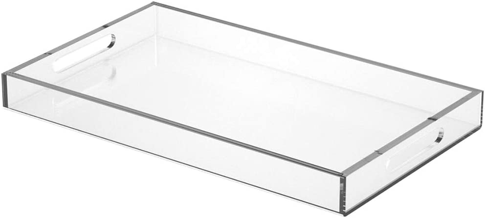 NIUBEE Acrylic Serving Tray 12x20 Inches -Spill Proof- Clear Decorative Tray Organiser for Ottoman Coffee Table Countertop with Handles