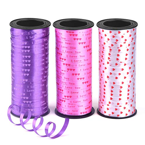- Coopay 3 Rolls 5 mm Mother's Day Heart Curling Ribbon Love Balloon Curling Ribbons for Valentine Wedding Party Decoration, Crafts and Gift Wrapping, 300 Yards, White, Pink, Purple