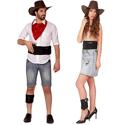 (VAMDOO Fast Draw Belly Band Gun Holster with Ankle Holster (2-Piece Set) Pistols, Handguns, Revolvers Concealed Carry | Adjustable Waist, Leg | Right Handed | Unisex)